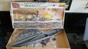 VINTAGE MOTORIZED LINDBERG BRITISH HMS HOOD CRUISER 1/400 SCALE MODEL SHIP KIT
