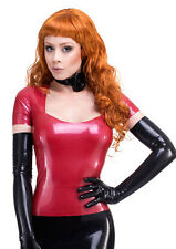 R0743 LATEX  T-Shirt Top *Red or Black* Zip Back SECONDS RRP £78.75 - £90.56