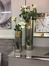 SET of 3 Decorative Silver Square Vase Vases Display Home Decor Pot Gift Present