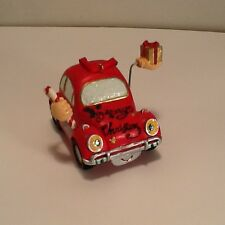 """Merry Christmas Volkswagen Bug Ornament Cast Resin 3"""" VW With Hands, Candy, Gift"""