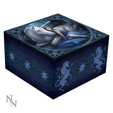 Anne Stokes Design, Blue Moon Unicorn Mirror Trinket Jewellery Box Blue Fantasy