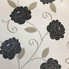 Debona Cream Black Floral Trail Flowers Metallic Silver Gold Wallpaper 5566