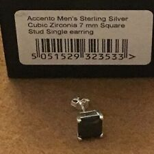 Accento Men's Single Earring Black 925 Sterling Silver 7mm Square Stud