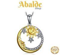 Collar y Colgante Joya Mujer / Plata de Ley 925 Diseño Luna Sol Estrellas Regalo