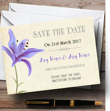 Purple Lily Vintage Personalised Wedding Save The Date Cards