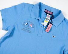 Women's Vineyard Vines Whale Logo Co-Branded Light Blue Polo Shirt - Medium