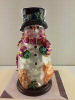 """QVC THOMAS PACCONI CLASSICS CHRISTMAS GLASS BLOWN SNOWMAN SET 14"""" & 2x's 6"""""""