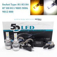 2x 5D 9006  led car combo beam kit bulb lamp headlight double color W/Y 12V