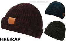 Firetrap Mens Cable Fishermans Beanie Hats Winter Warm Skull Caps Accessories