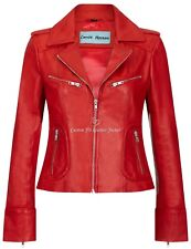 Women Leather Jacket Red Biker Motorcycle Style Tops Genuine Leather Jacket 9823