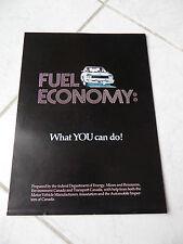Fuel Economy Canada catalogue brochure prospekt catalog