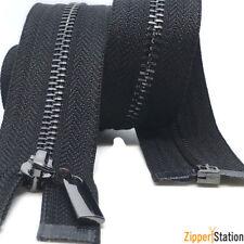 Gun Metal Teeth Zips No3 Weight Zip - Open End - Black,White (3ZOE)