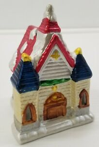 I) Miniature Merrybrite Porcelain Church Holiday Tealight Candle Decoration