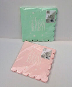 20 Hello Baby ! PAPER NAPKINS Scallop Edge SHOWER BIRTH PARTY Pink / Mint Green