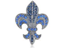 Lady Azul Zafiro Diamante Rhinestone Fleur De Lis Pin Broche Joyería Regalo de Navidad