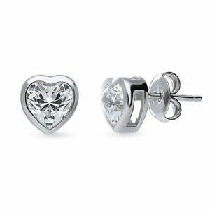 2Ct Diamond Solitaire Bezel Heart Stud Earrings In 925 Sterling Silver
