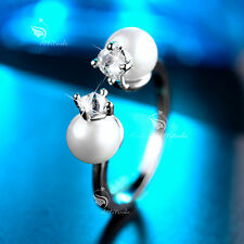 18K WHITE GOLD GP MADE WITH SWAROVSKI CRYSTAL PEARL RING US 6.5 AU N