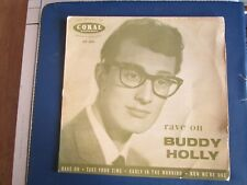 "Buddy Holly Rave On Original Coral Records EP Vinyl Record 7"" Single"