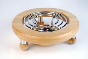Teapot Warmer Wood 18cm - Loose Tea Candle Burner Kitchen Caddy Kettle Iron Herb