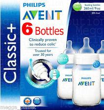 6 X Philips AVENT 260ml 9oz Anti-colic Baby Feeding Bottle Classic Range Scf563