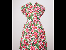 Stunning 1950s style day dress,white red roses.( mistress of vintage)size 16