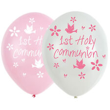 6 x Pretty 1st Holy Communion Balloons Decoration Pink & white Helium or air