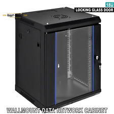 18U Wall Mount Premium Network Server Data Cabinet Rack Glass Door Lock With Fan