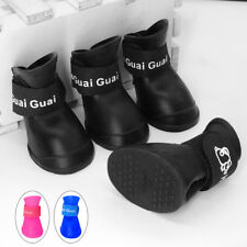 4pcs/lot Spring Waterproof Dog Rain Shoes Boots Rubber Dog Booties Black S M L