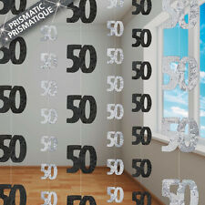 50th BIRTHDAY PARTY SUPPLIES PK 6 GLITZ BLACK AND SILVER HANGING DECORATIONS
