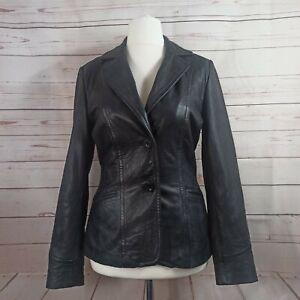 Keenan Leather Company Size 10 Aviator Biker Jacket Women's Black