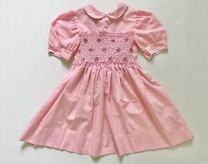 Vintage Polly Flinders Hand Smocked Pink Dress 6