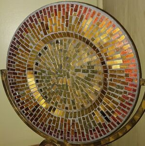 BEAUTIFUL!! Mosaic Glass Tile Decorative Plate Charger Candle Holder Centerpiece