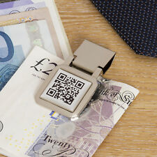 Personalised Secret Message QR Money Clip Silver Plated Birthday Fathers Gift