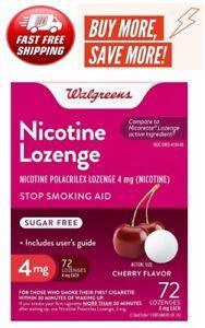 Walgreens Nicotine Lozenge 4 mg 72 count Cherry Flavor Compared to Nicorette