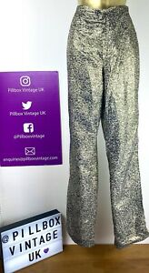80s High Waist Mum Style Gold Glitter Sparkly Leopard Print Trousers Size 10
