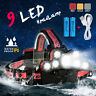 120000LM 9xT6 LED Headlamp Rechargeable USB Zoom Headlight 2x18650 Torch Lamp