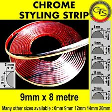 9mm x 8m CHROME CAR STYLING MOULDING STRIP TRIM ADHESIVE