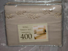 400 TC Embroidered Solid Beige King Sheet Set Bed NEW!