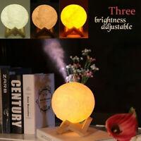 Lampe 3D lune humidificateur air diffuseur arôme huile essentielle USB maison DE