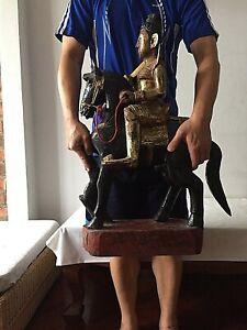 Antique Burmese Nat riding Horse figure