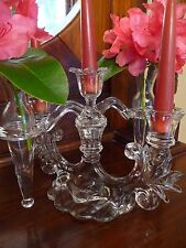 Vintage Cambridge Caprice Arm Glass Candelabra Two Epergne Vases Three Candles