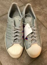 ADIDAS Superstar Shoes Gray w Blue Red Stripes CQ2657 Men's US 9