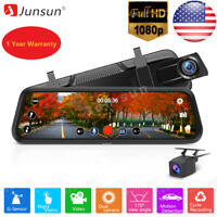 """10"""" Junsun FHD 1080P Car DVR Rearview Mirror Dash Cam Dual Lens Rear Camera"""