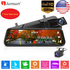 "10"" Junsun FHD 1080P Car DVR Rearview Mirror Dash Cam Dual Lens Rear Camera"