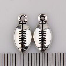 50Pcs Zinc Alloy Little Football Charms Pendants 16x7mm 1A1849