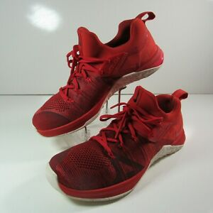 Nike Metcon Flyknit 3 Athletic Shoes Men Size 10 US Lace Up Red AQ8022-800