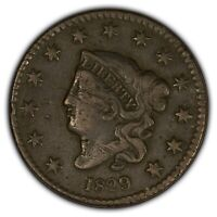 1829 1c Coronet Head Large Cent - Better Date - SKU-Y2405