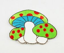 GREEN MUSHROOM WITH RED DOTS IRON/SEW ON PATCH EMBROIDERED APPLIQUE T-SHIRT BAG