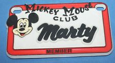 Vintage Walt Disney Mickey Mouse Club Marty Plastic Name License Plate