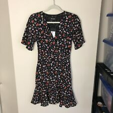 The Kooples Women's Size XS Black Floral Short Sleeve Fit And Flare A Line Dress